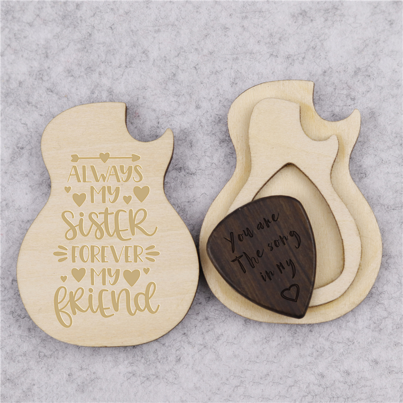 Personalised Engraved Stainless Steel Guitar Pick Plectrum Necklace with Black Gift Box BOLD CONTRASTING ENGRAVING GIFT WEDDING MUSIC PRESENT CHRISTMAS BIRTHDAY