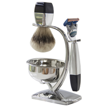 Silvertip Badger Hair Shaving Brush Metal Bowl Stand Holder Classic Blades Razor Shave Set kit Man's Gift недорого