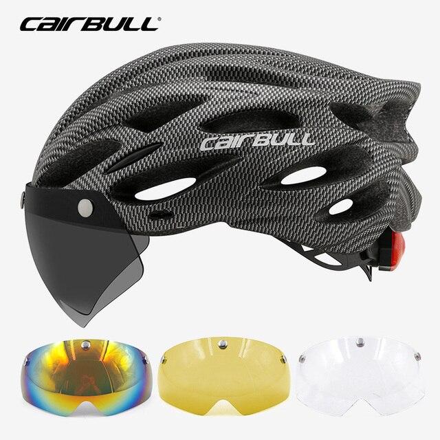 Cairbull ultraleve ciclismo intergralmente-moldado capacete de estrada mountain bike equitação capacete com viseira removível óculos de bicicleta taillig 5