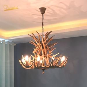Image 1 - נורדי LED נברשת E14 תליון מנורת תאורה Hanglamp תעשייתי באק קרן צבי קרן צבי שינה סלון מטבח גופי