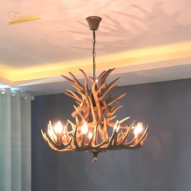 נורדי LED נברשת E14 תליון מנורת תאורה Hanglamp תעשייתי באק קרן צבי קרן צבי שינה סלון מטבח גופי
