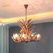Nordic LED żyrandol E14 lampa wisząca Hanglamp przemysłowe Buck róg jelenia poroża sypialnia salon wyposażenie kuchni