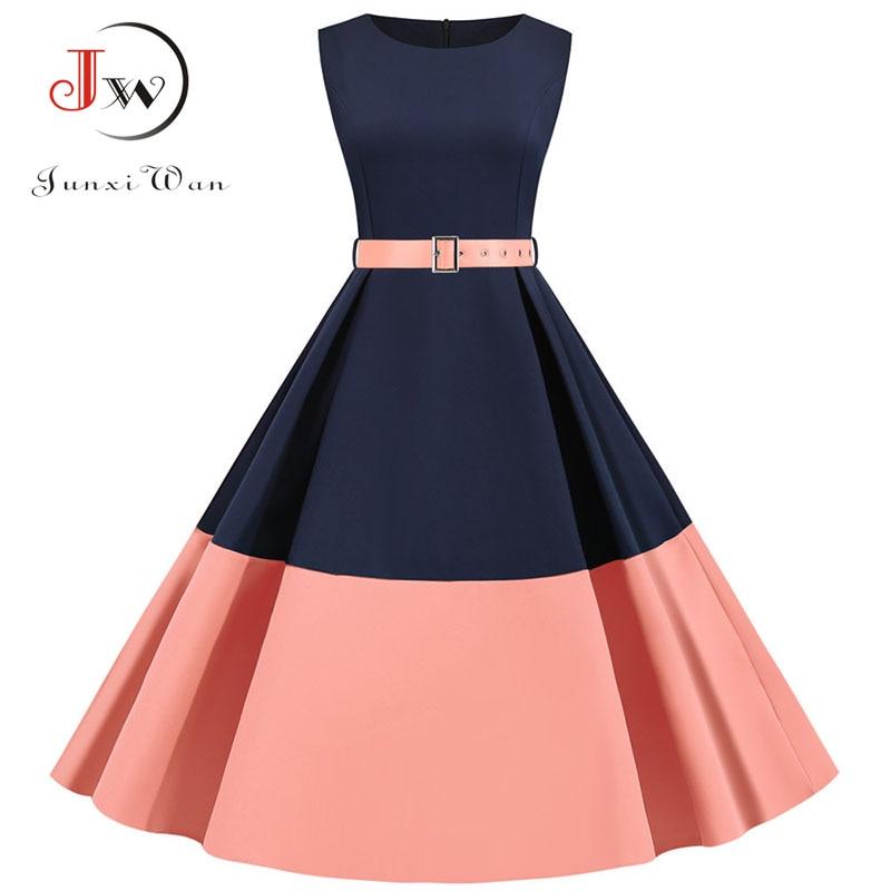 3XL Summer Women Elegant Vintage Midi Dress Sexy Solid Patchwork A-line Vestidos Sleeveless Party Dress Plus Size Robe Femme