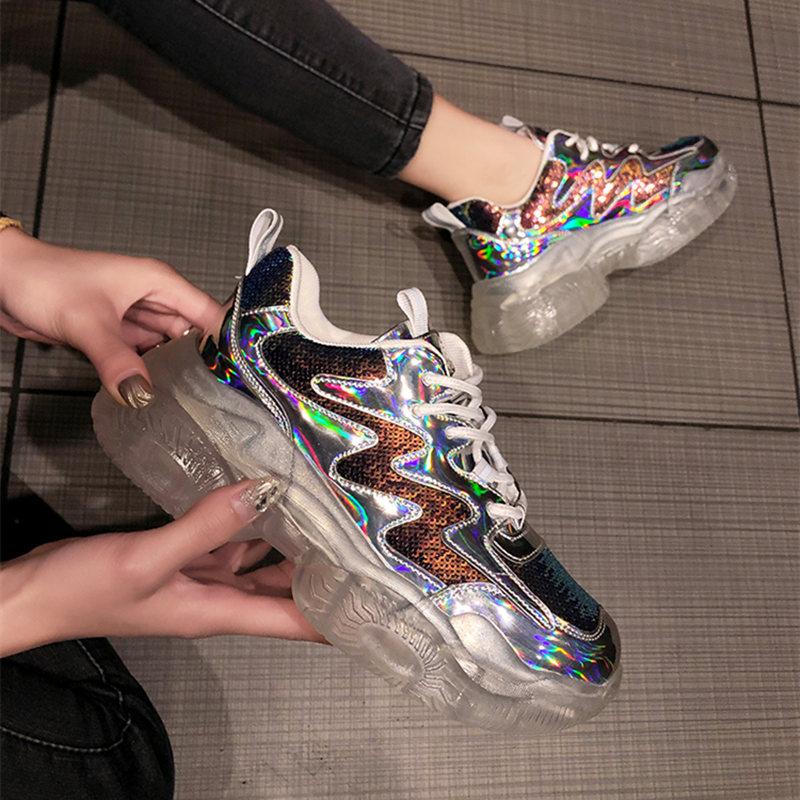 Brand Spring Trend Women Transparent Sneakers Harajuku Ladies Platform Jelly Shoes Laser Casual Shoes Shining Running Footwear slip-on shoe