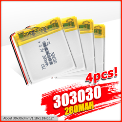 1/2/4x 2020 New 3.7 V 280mAh 303030 Li-Po Battery GPS Mini Camera PDA Pos Machine Lithium Ion Polymer Batteries Rechargeable
