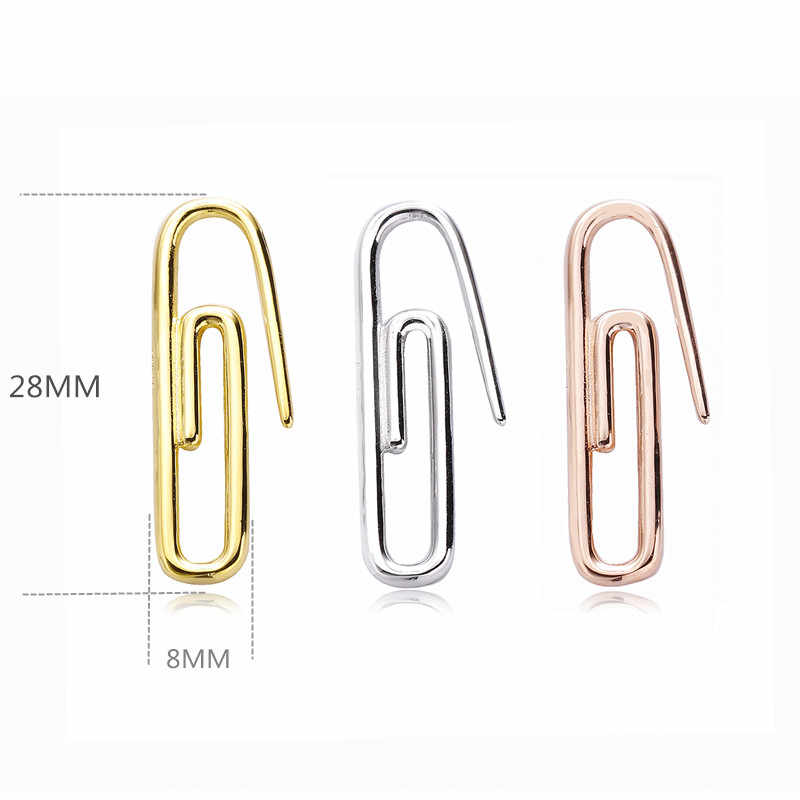 Slovecabin 925 Sterling Silver Plain Paper clip Earring Pin Clasp Ear Cuff Fashion Jewelry For Both Left and Right Ear Earcuff