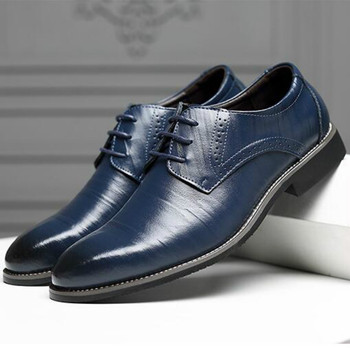 Men Oxfords Shoes British Black Blue Handmade Comfortable Formal Dress Flats Lace-Up Bullock Business hjm7