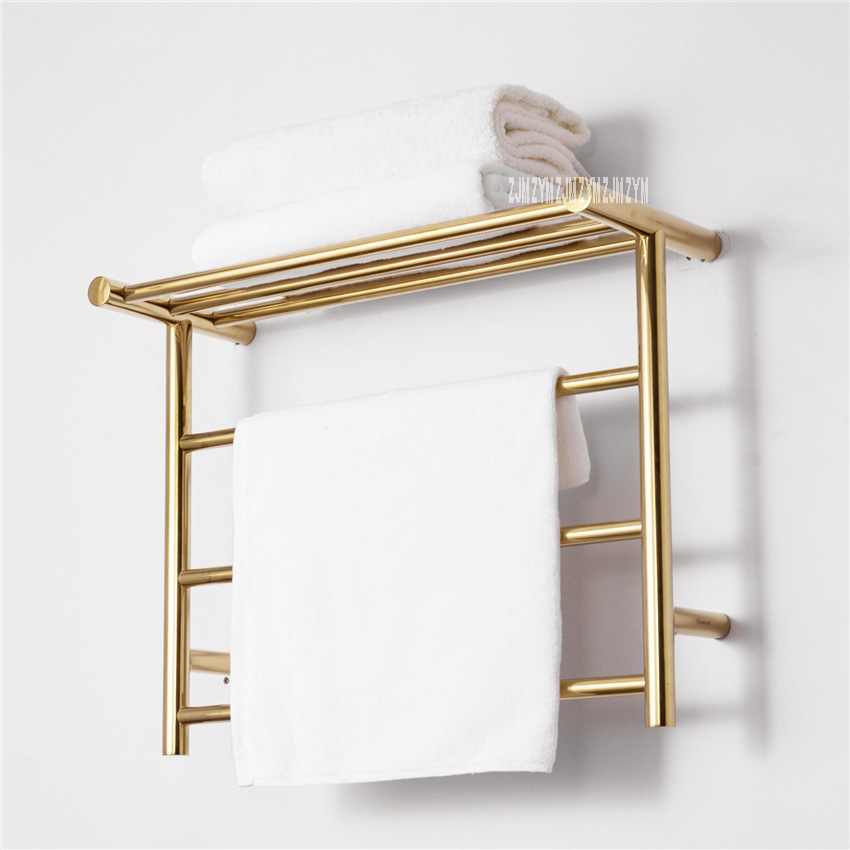304 Stainless Steel Towel Titanium Gold Warmer Bathroom Toilet Heated Towel Rail Wall Mounted Electric Heating Towel Drying Rack