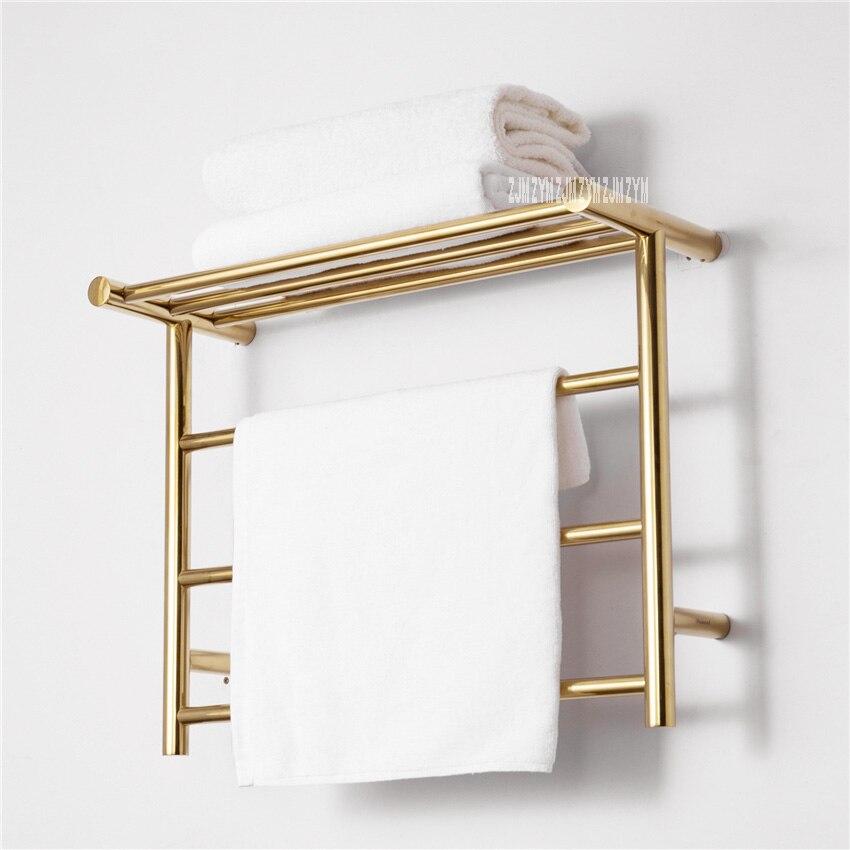 304 Stainless Steel Towel Titanium Gold Warmer Bathroom Toilet Heated Towel Rail Wall Mounted Electric Heating Towel Drying Rack