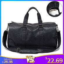Male Leather Travel Bag Large Duffle Independent Shoes Storage Big Fitness Bags Handbag Bag Luggage Shoulder Bag Black XA237WC(China)