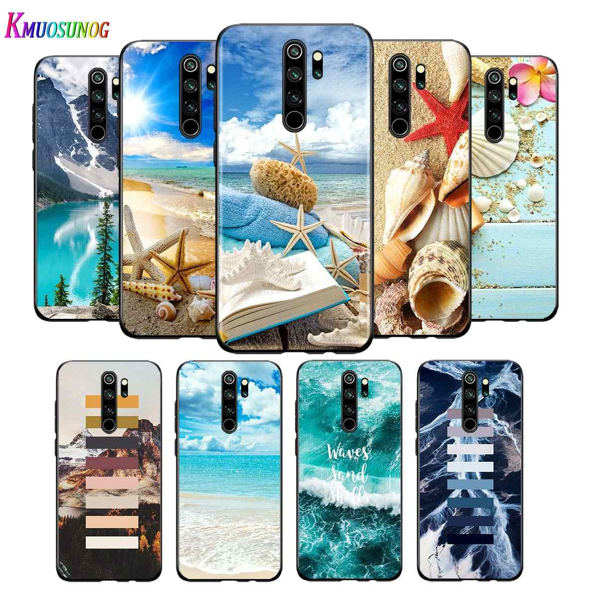 For Xiaomi Redmi Note 9 9S Max Phone Case Clear Sea Sky Sandy beach Back For Xiaomi 8T 8 7 6 5 Pro 5A 4X 4 Black Phone Cover