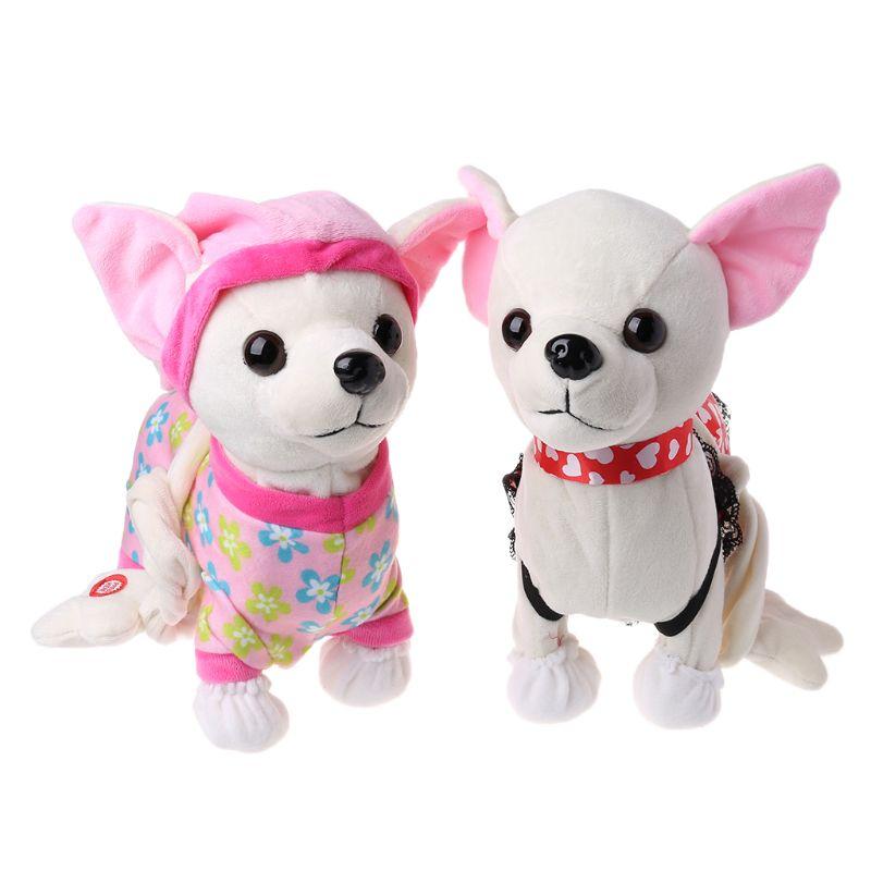eletronico animal de estimacao robo cao ziper andando cantando brinquedo interativo com saco para criancas presentes