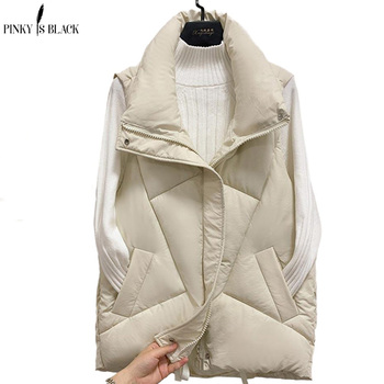 PinkyIsBlack Stand Collar Women Winter Vests 2020 New Short Vest Cotton Padded Jacket Sleeveless Female Winter Waistcoat Vest pinkyisblack new down cotton vest women winter short waistcoat outerwear sleeveless jacket coat hooded autumn cotton vest female