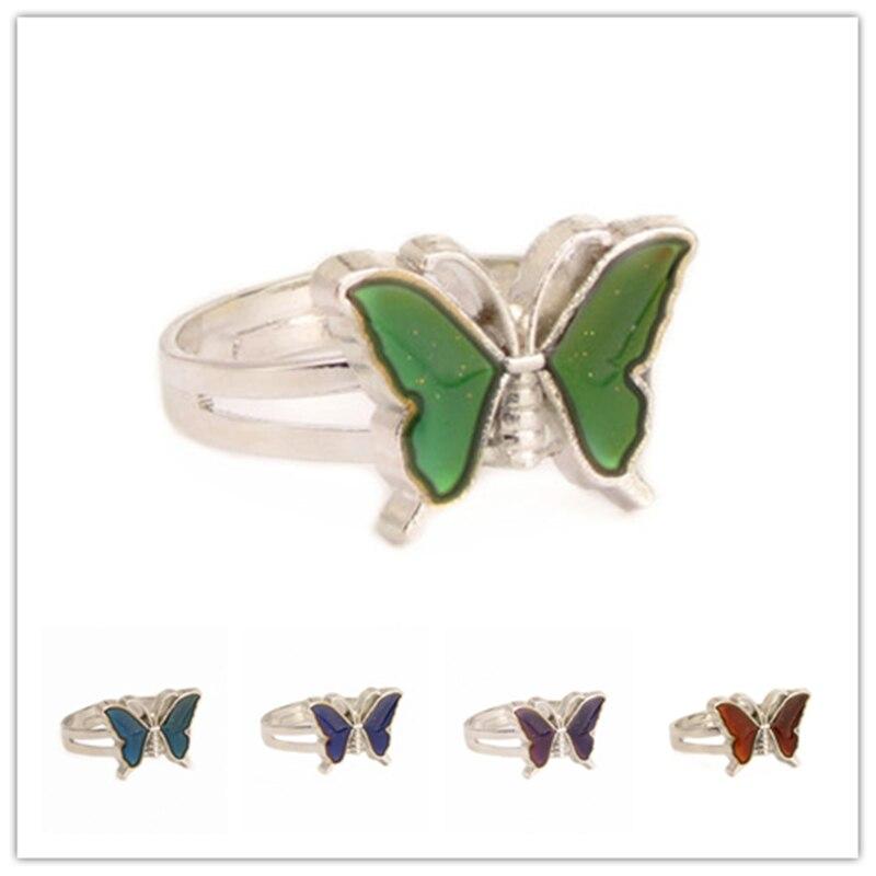 Бабочка Кольцо-Определитель настроения Цвет изменение Регулируемый чувства эмоции Сменные Температура кольцо ювелирные изделия для детей...