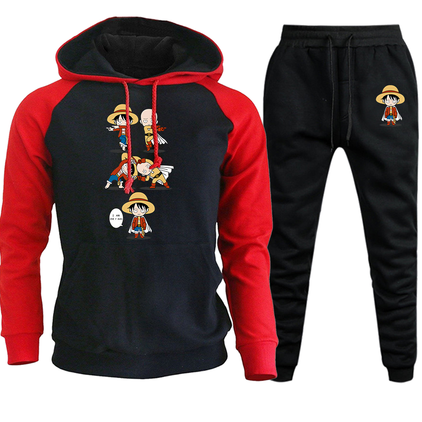 Strongest Pirate Autumn Winter 2019 Streetwear Fashion Hooded Mens Raglan Suit Japan Anime Pullover Hoodie+Pants 2 Piece Set