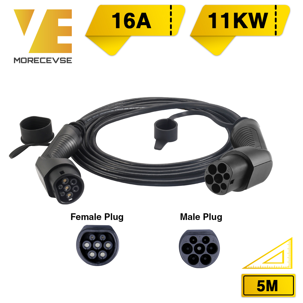 Morec EV Charging Cable 16A 11KW Three Phase For Electric Car Charger Station Type 2 Female To Male Plug, IEC 62196-2 5M