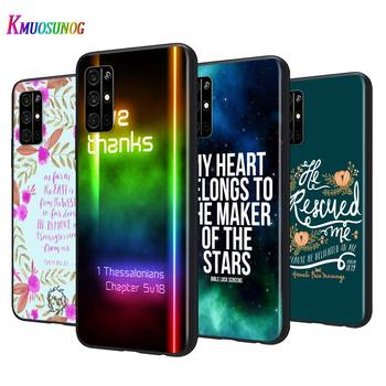 Black Silicone Cover Biblical scriptures For Huawei Honor 9A 9C 9S 9X Lite 30 Pro Plus 20S 8A 8C 8S 87 7C 7S Phone Case image