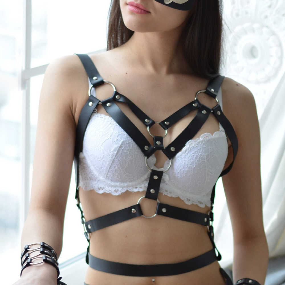 Leather Harness Women Rave Bra Suspenders Straps Women Sexy waistband Erotic Lingerie Bondage Bra Garter Belt Straps Lovely Xun