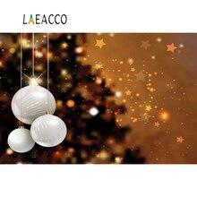Laeacco Photography Backdrop Christmas Bauble Glitter Pine Star Polka Dots Child Portrait Backgrounds Photocall Photo Studio