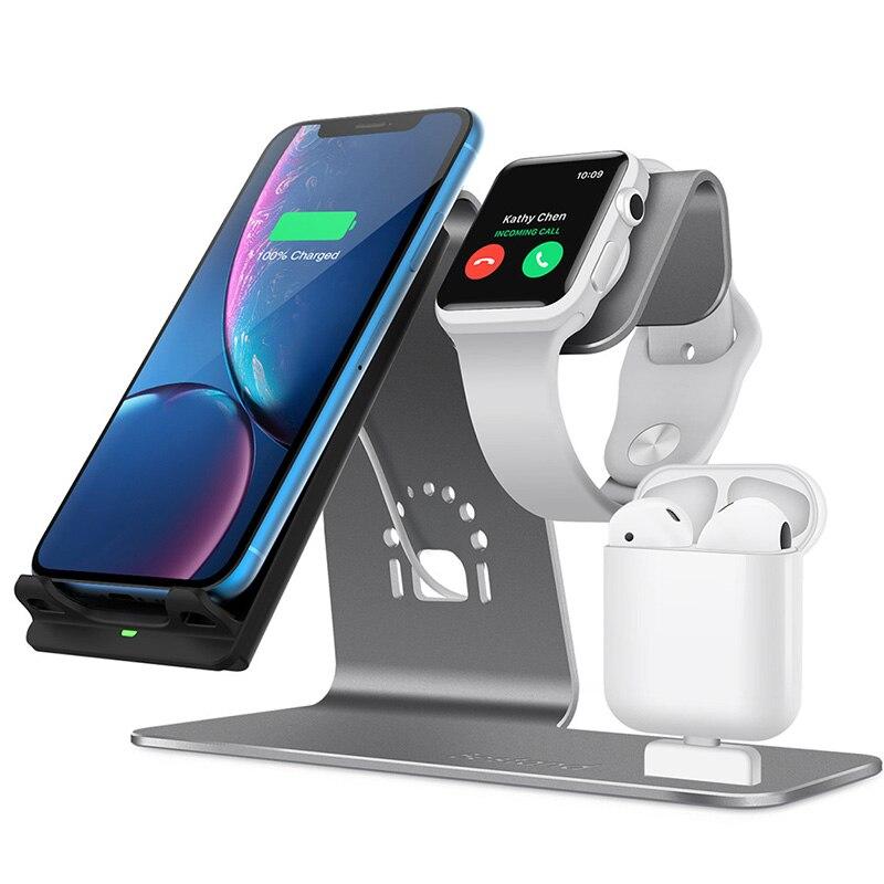 Support de charge sans fil en aluminium 3 en 1 pour Apple Watch, Station de recharge pour Airpods, Dock de chargeur sans fil rapide Qi pour Apple