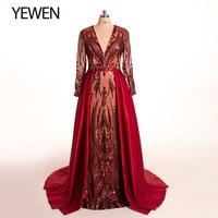 V neck 2020 Wine Red Mermaid Evening dress long sleeve elegant Arab robe de soiree formal gown Detachable Train YeWen