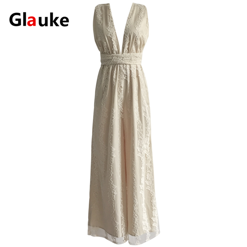 Jumpsuit Women Summer Long V-neck Backless Lace 2020 New Tall Waist Sexy Wide Legged Pants Ladies Solid Backless Party Romper