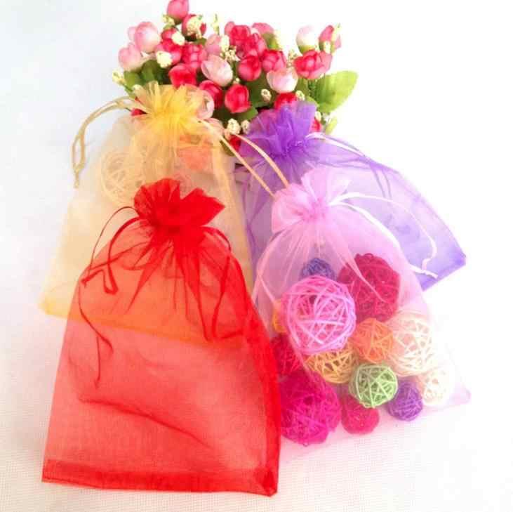 10 pz/lotto (11 Formati) sacchetti del Regalo del Organza di Cerimonia Nuziale Di Compleanno Del Partito Della Caramella Cioccolato Sacchetti di Sacchetti di Imballaggio del Contenitore di Regalo Di Natale di Halloween