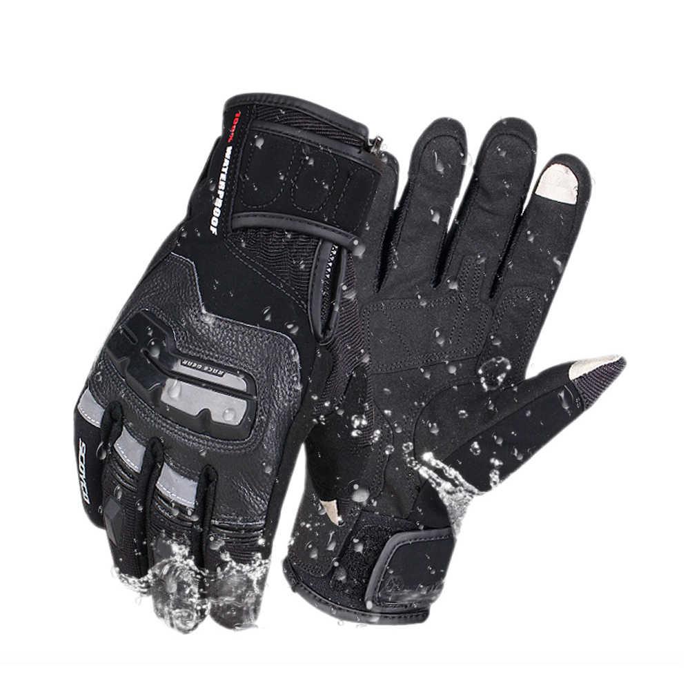 SCOYCO gants de Moto imperméables en cuir Moto gants écran tactile gants de Motocross hiver coupe-vent Moto gants d'équitation