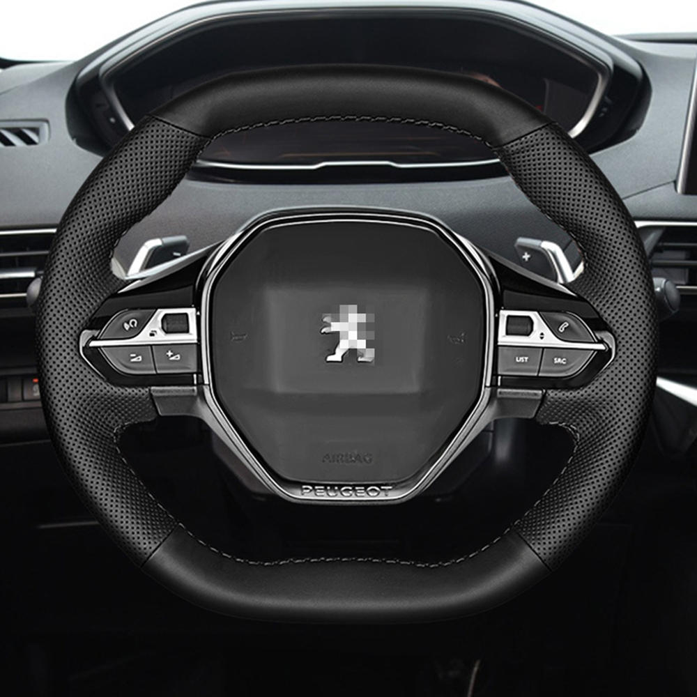 Leather Hand Sewing car Steering Wheel Cover Accessories for <font><b>Peugeot</b></font> 3008 4008 5008 2016-2019 508 <font><b>208</b></font> 2019 <font><b>2020</b></font> e-<font><b>208</b></font> Rifter image