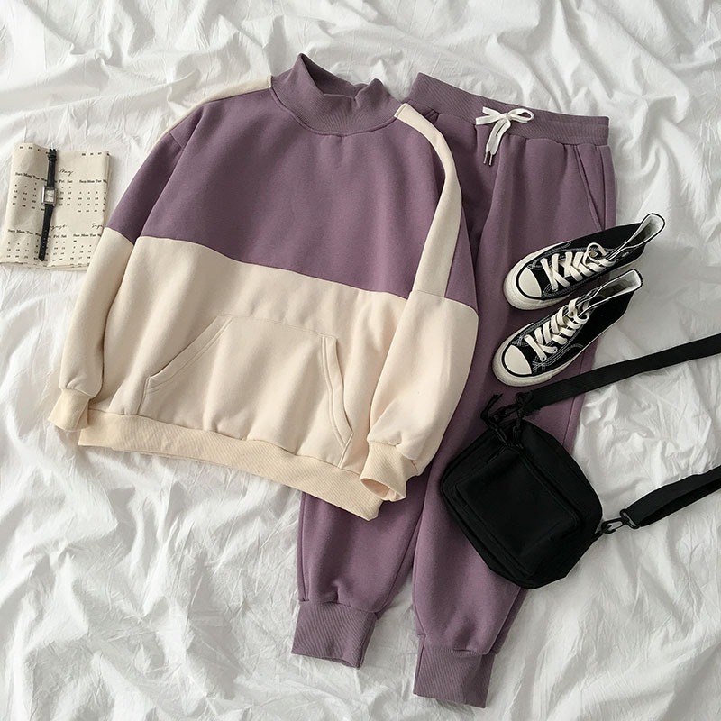 Autumn Winter Thickening Pants Set Women Casual Hooded Sweatshirt + Elastic High Waist Ankle Pant Matching Set Two Pieces Set
