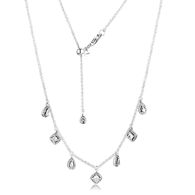 Genuine 925 Sterling Silver Chain Necklaces Dangling Geometric Shapes Necklace for Women Girls Party Gift Wholesale
