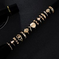 15Pcs Assoeted Golden Religious Coin Cross Crystal Fatima Hand Boho Rings Set Y4QB