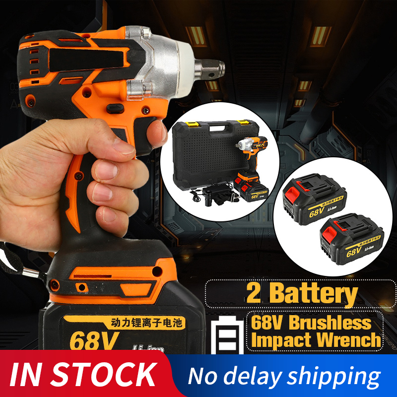 68V 9000mAh 320N.m Cordless Lithium-Ion Battery Electric Impact Wrench Cordless Brushless With Rechargeable Battery AC 100-240V