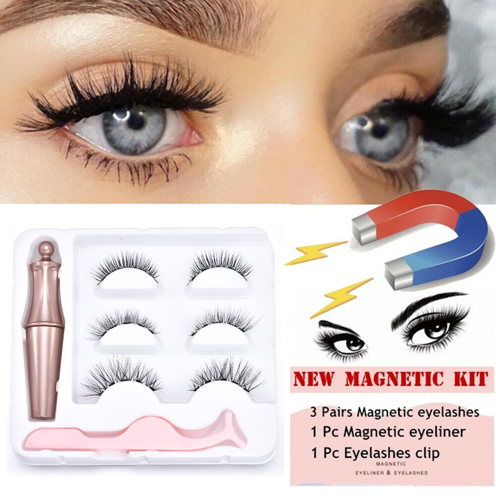3D Mink Hair False Eyelashes 3 Pairs Magnetic Eyelashes With 1 Pc Magnetic Eyeliner And Tweezer Set Makeup Beauty Extension Tool