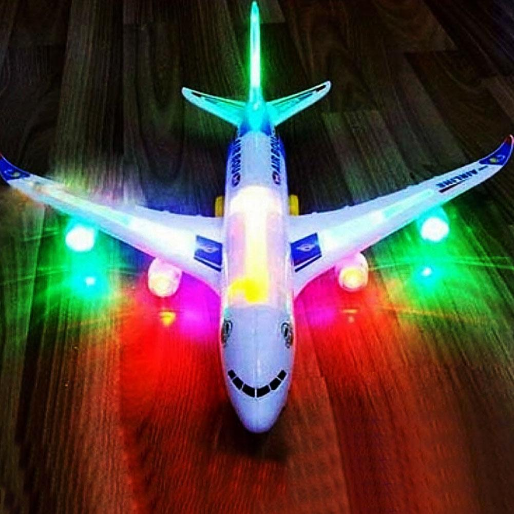 Portable <font><b>A380</b></font> <font><b>Airbus</b></font> <font><b>Model</b></font> Electric Flashing Lights Musical Sounds Airplane Assemble Toy Airplane Toy Birthday Gift Kids Toy image