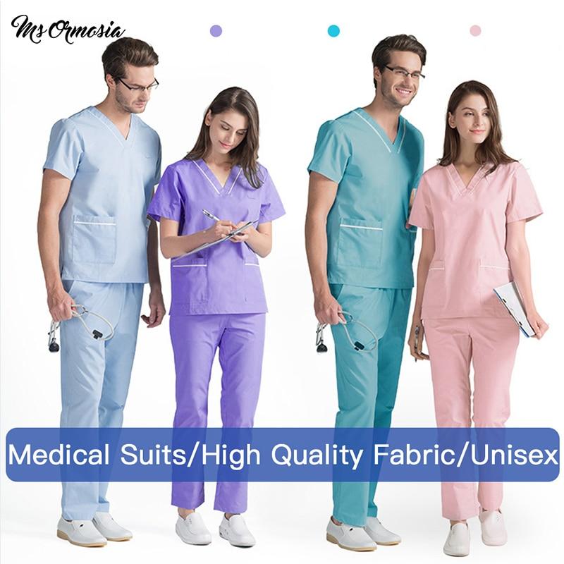 Unisex Medical Uniforms Nursing Scrubs Clothes Short Sleeved Tops Pants Doctor Shirt Brush Hand Clothing Work Clothes Men Women