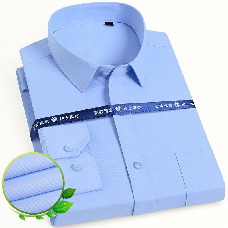Męska klasyczna koszula z długim rękawem solidna/w paski prosta sukienka z pojedynczym naszyta kieszeń formalna biznesowa koszulka socjalna o standardowym kroju