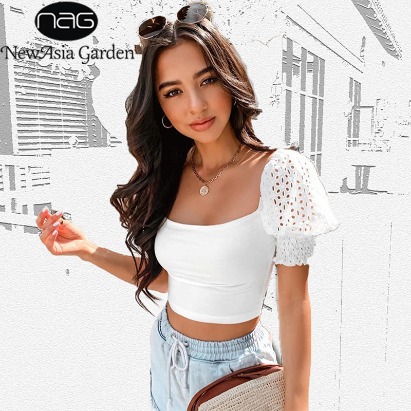 NewAsia Vintage Lace Blouses Women Square Collar Blusas Puff Short Sleeve Blouses Tops Solid Casual Shirts Summer Party Clubwear
