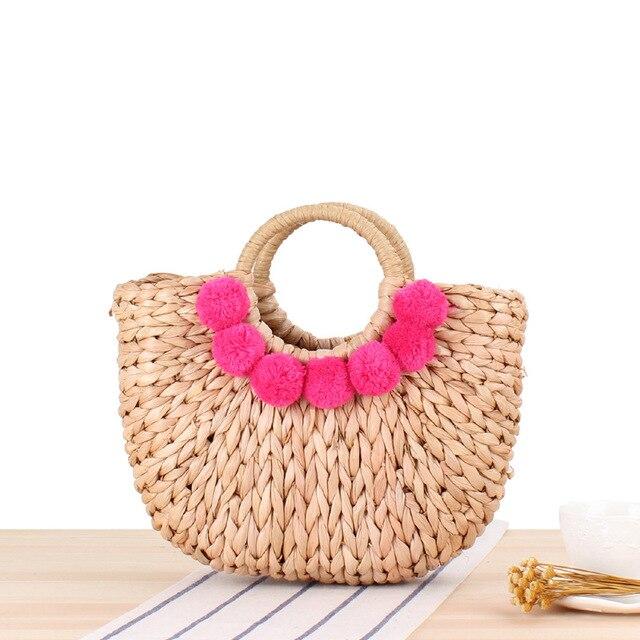 bohemian tassel rattan women handbags woven straw bag large capacity tote summer beach bali bag lady wicker basket purses