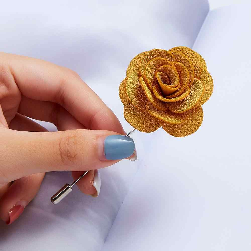New Colored Camellia Cloth Flower Word Pin Brooch 5 Colors Handmade Boutonniere Brooch Pin for Women Lapel Brooch Jewelry Gifts