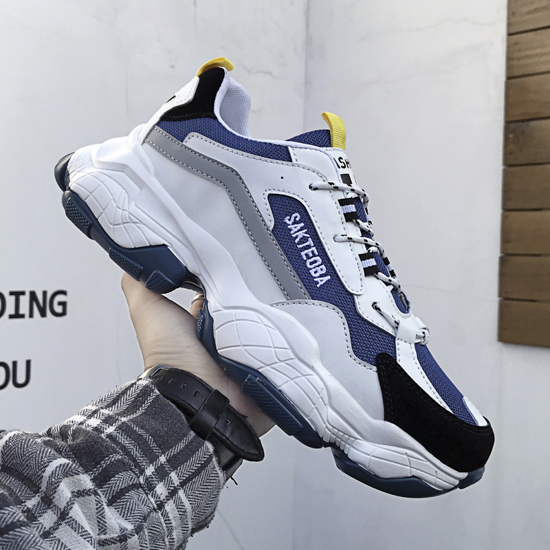2020 New Casual Shoes Spring Men Fashion Sneakers Breathable Light Mesh Lace Up Mixed Colors Flats Male Sport Footwear Shoes