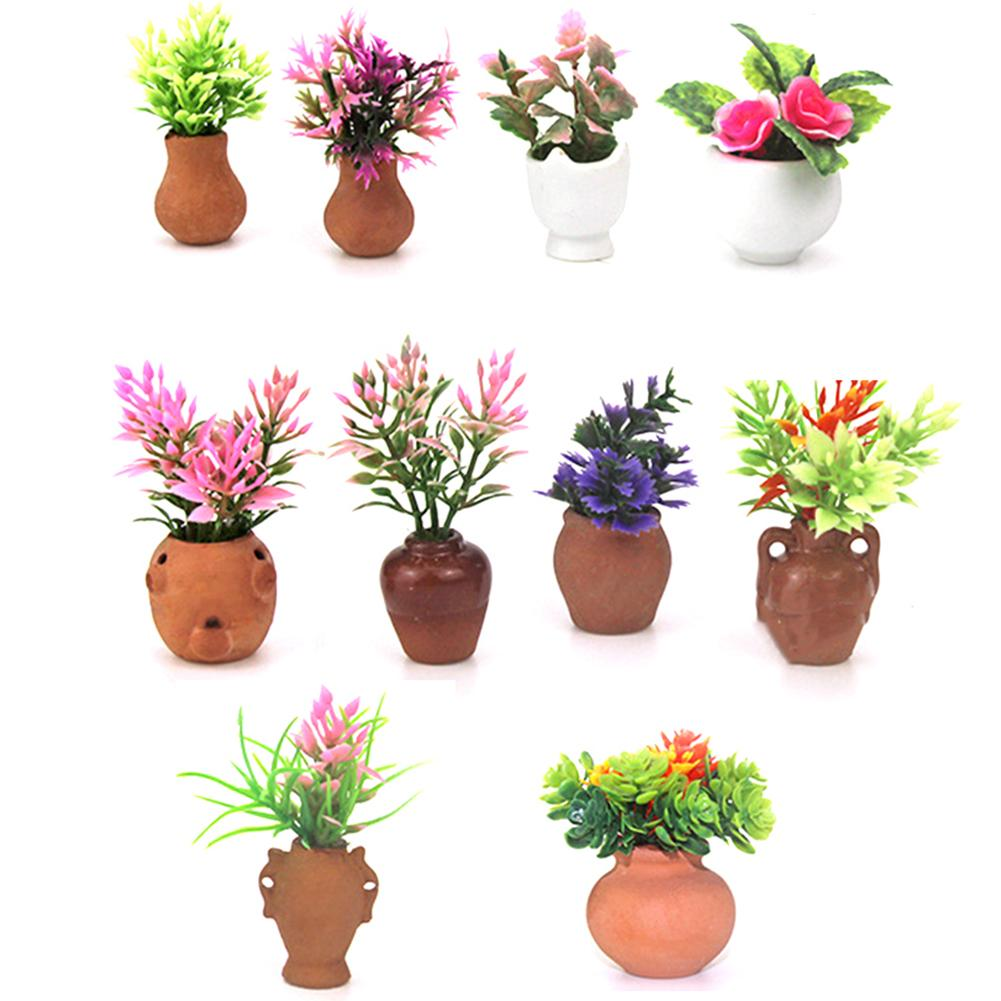 Artificial 1/12 Dollhouse Miniature Fake Green Plant Flower In Pot Fairy Garden Doll House Accessories Simulation Mini Toy