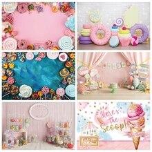Laeacco doğum günü arka planında şeker lolipop kek dondurma çörek çocuklar yenidoğan bebek duş fotoğraf fotoğraf stüdyosu için arka planlar