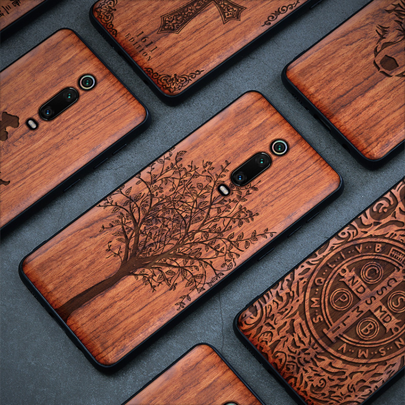Wood Case For Xiaomi Redmi Note 8 7 K20 Pro 100% Natural Wooden TPU Phone Case For Xiaomi Mi 8 9 SE Lite Mix 2 2S 3 Back Cover