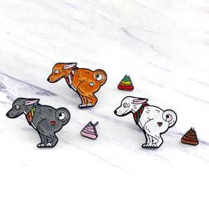 Cute Dog Rainbow Poo Pattern Animal Badge Children Enamel Brooch Pin Jewelry Decor