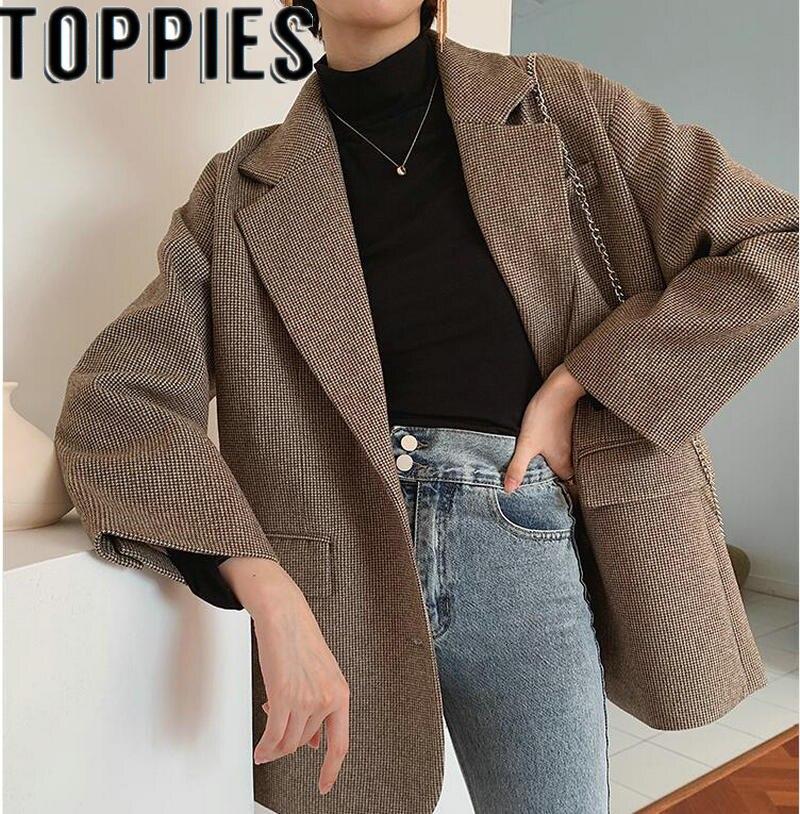 High Quality Winter Women Plaid Thick Blazer Elegant Houndstooth Chic Warm Blazer Jackets Office Lady Woolen Coat