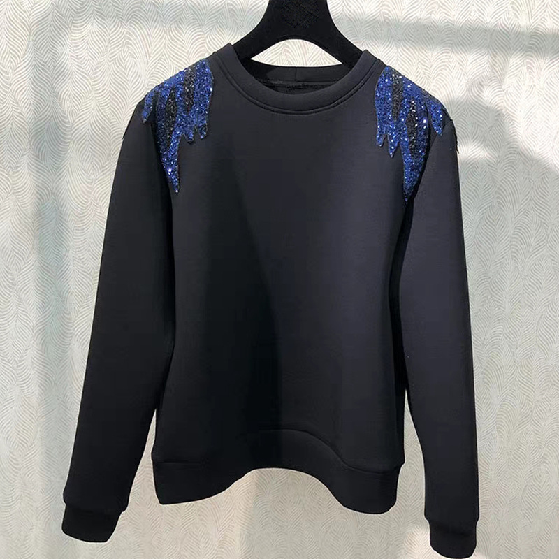 Women Cotton Sweatshirt Embroidered Sequins O-neck Ladies Sports Top Loose Female  Pullover
