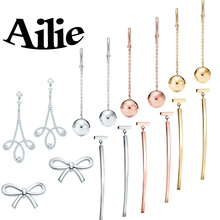 Ailey original high quality 100% 925 sterling silver bow earrings fall new classic Jane fashion ladies jewelry couple gifts