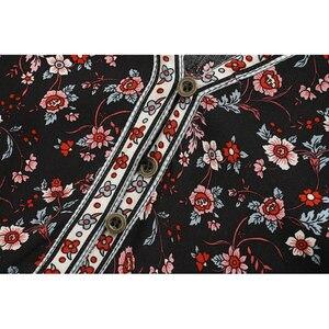 Image 4 - Robe maxi en coton, style Boho, Vintage chic imprimé floral oiseaux, manches courtes, style Boho, coton, décolleté plongeant en v, bouton
