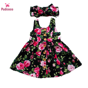 Newborn Baby Girls Dress Summer flower Bow Dresses Party Clothes Cotton Birthday Girl Frocks Black Princess 2 3 4 Years Old(China)